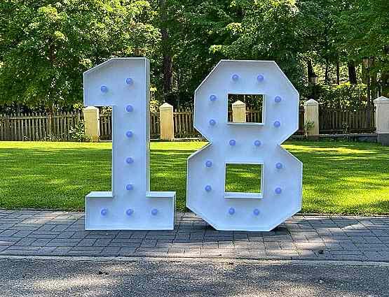 LED Zahlen 18 Geburtstag in Berlin, Leuchtende LED Hochzeitsdeko XXL mieten, rund um Ihre Hochzeit, Hochzeitstag Deko mieten, XXL 18 Geburtstagparty 18